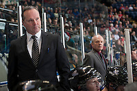 KELOWNA, CANADA -FEBRUARY 8: Head coach Dave Lowry of the Victoria Royals stands on the bench against the Kelowna Rocketson February 8, 2014 at Prospera Place in Kelowna, British Columbia, Canada.   (Photo by Marissa Baecker/Getty Images)  *** Local Caption *** Dave Lowry;