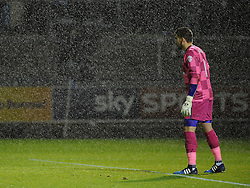 Matt Ingram of Wycombe Wanderers during the rainstorm - Mandatory byline: Neil Brookman/JMP - 07966 386802 - 06/10/2015 - FOOTBALL - Memorial Stadium - Bristol, England - Bristol Rovers v Wycombe Wanderers - JPT Trophy