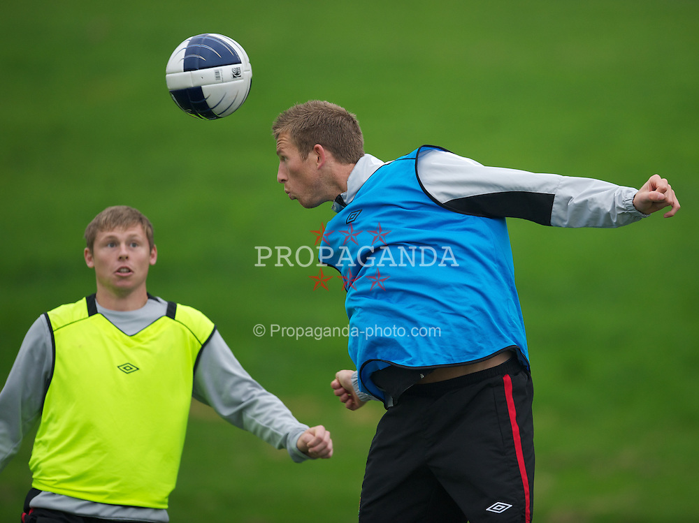 CARDIFF, WALES - Sunday, October 10, 2010: Wales' Danny Collins and Simon Church during a training session at the Vale of Glamorgan ahead of the Euro 2012 qualifying Group G match against Switzerland. (Pic by David Rawcliffe/Propaganda)
