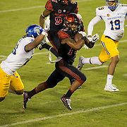 21 October 2016: The San Diego State Aztecs football team takes on the San Jose State Spartans Friday night at Qualcomm Stadium. San Diego State running back Donnel Pumphrey (19) breaks free for a 23 yard touchdown run in the third quarter. The Aztecs beat the Spartans 42-3 to extend there home win streak. www.sdsuaztecphotos.com