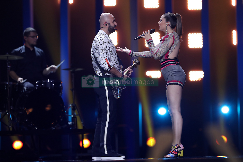 May 7, 2018 - Lisbon, Portugal - Singer Eye Cue of F.Y.R. Macedonia performs during the Dress Rehearsal of the first Semi-Final of the 2018 Eurovision Song Contest, at the Altice Arena in Lisbon, Portugal on May 7, 2018. (Credit Image: © Pedro Fiuza/NurPhoto via ZUMA Press)