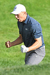 June 25, 2017 - Cromwell, Connecticut, U.S - Jordan Spieth reacts to the winning shot on the first play off hole during the Travelers Championship at TPC River Highlands in Cromwell, Connecticut. (Credit Image: © Brian Ciancio via ZUMA Wire)