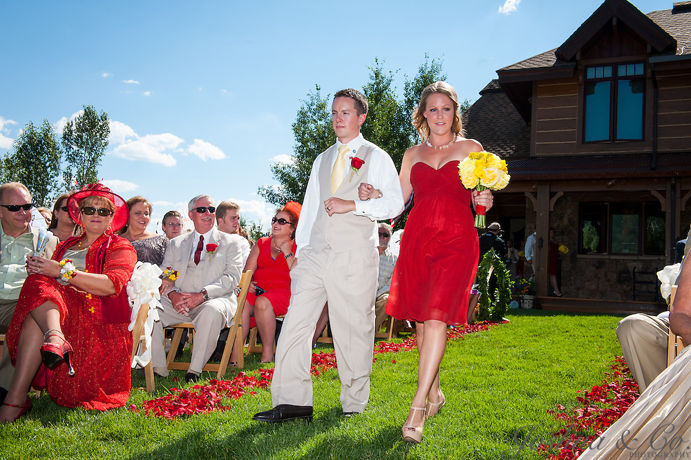 Garrett and Erin Hothan's wedding ceremony at their family's Catamount Ranch &amp; Club home in Steamboat Springs, Colo., on Saturday, July 20, 2013.<br /> <br /> Joshua Lawton // Joshua &amp; Co. Photography <br /> <br /> www.joshuacophotography.com