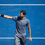 August 30, 2017 - New York, NY : Grigor Dimitrov waves to the crowd after defeating Vaclav Safranek, not visible, in the Grandstand on the third day of the U.S. Open, at the USTA Billie Jean King National Tennis Center in Queens, New York, on Wednesday. <br /> CREDIT : Karsten Moran for The New York Times