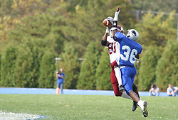 12 October 2002: Andre Ralston pulls in a pass over his left shoulder while protected. Eastern Illinois University Panthers host and defeat the Colonels of Eastern Kentucky during EIU's Homecoming at Charleston Illinois.