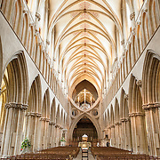 The ornate architetectural interior  of Wells Cathedral in Wells, Somerset, United Kingdom. Some of the building dates back to the 10th Century.