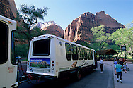 Free Tourist Shuttle Bus stop at Zion Lodge in Zion Canyon, Zion National Park,UTAH