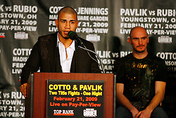 Jan 13, 2009; New York, NY, USA; Miguel Cotto speaks at the press conference announcing his February 21, 2009 fight against Michael Jennings.  The two fighters will meet at Madison Square Garden.