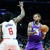 12 October 2017: LA Clippers center DeAndre Jordan (6) defends on Sacramento Kings center Willie Cauley-Stein (00) during the LA Clippers 104-87 victory over the Sacramento Kings, at the Staples Center, Los Angeles, California, USA.