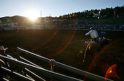 """061308-Evergreen, CO-fridaynightbulls-Bull rider Bryan Guthrie tries to hold on for 8 seconds during the """"Friday Night Bulls"""" competition Friday, June 13, 2008 at the Evergreen Rodeo Grounds..Photo By Matthew Jonas/Evergreen Newspapers/Photo Editor"""