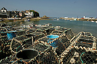 Lobster pots in the fishing village, Loguivy de la Mer, Brittany<br />