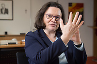 15 MAR 2018, BERLIN/GERMANY:<br /> Andrea Nahles, SPD Fraktionsvorsitzende, waehrend einem Interview, in ihrem Buero, Jakob-Kaiser-Haus, Deutscher Bundestag<br /> IMAGE: 20180315-01-025<br /> KEYWORDS: B&uuml;ro