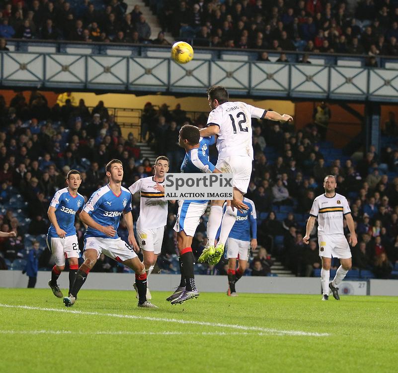 Steven Craigs header is over the bar  during the Rangers v Dumbarton  Scottish Championship  1 December 2015 <br /> <br /> (c) Andy Scott | SportPix.org.uk