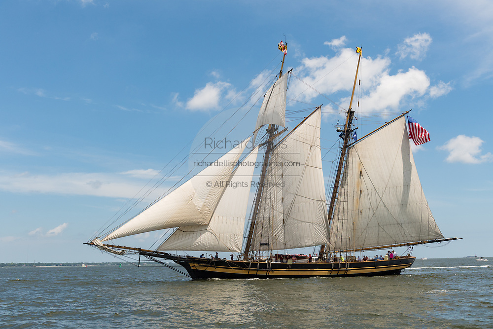 The American Baltimore Clipper ship Pride of Baltimore II during the parade of sails kicking off the Tall Ships Charleston festival May 18, 2017 in Charleston, South Carolina. The festival of tall sailing ships from around the world will spend three-days visiting historic Charleston.