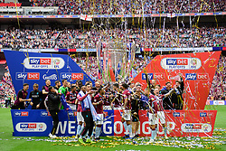 May 27, 2019 - London, England, United Kingdom - Aston Villa celebrate during the Sky Bet Championship match between Aston Villa and Derby County at Wembley Stadium, London on Monday 27th May 2019. (Credit: Jon Hobley | MI News) (Credit Image: © Mi News/NurPhoto via ZUMA Press)