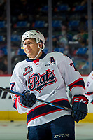 REGINA, SK - MAY 23: Matt Bradley #77 of the Regina Pats warms up against the Swift Current Broncos at the Brandt Centre on May 23, 2018 in Regina, Canada. (Photo by Marissa Baecker/CHL Images)