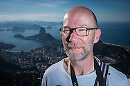 Andrew at the Cristo Redentor (Christ statue) at the top of the hill in Rio de Janeiro, Brazil. Photo by Andrew Tobin/Tobinators Ltd