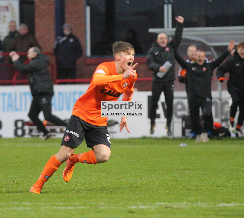 Dundee v Dundee United Scottish Premiership 2 January 2016; Blair Spittal (Dundee United, 20) scores from a free kick during the Dundee v Dundee United Scottish Premiership match played at Dens Park Stadium;