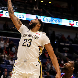 Oct 23, 2018; New Orleans, LA, USA; New Orleans Pelicans forward Anthony Davis (23) shoots over Los Angeles Clippers guard Patrick Beverley (21) during the first quarter at the Smoothie King Center. Mandatory Credit: Derick E. Hingle-USA TODAY Sports