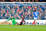Portsmouth's Gary Roberts strikes the ball in the back of the Bournemouth net to open the scoring during the The FA Cup fourth round match between Portsmouth and Bournemouth at Fratton Park, Portsmouth, England on 30 January 2016. Photo by Graham Hunt.