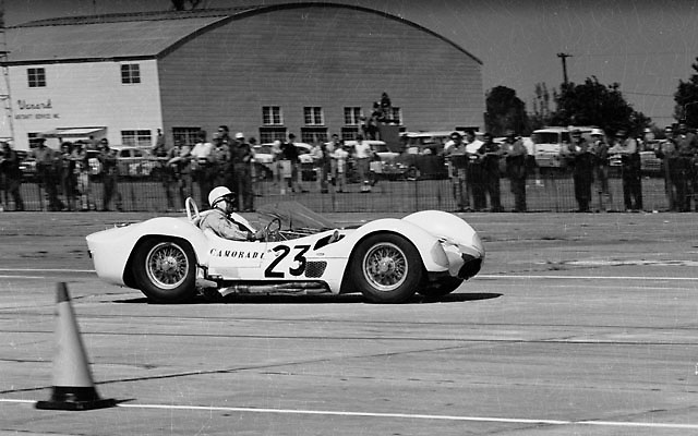 "Stirling Moss in ""birdcage"" Maserati at 1961 Sebring 12-hour"