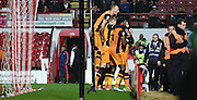Hull celebrate opening the score during the Sky Bet Championship match between Brentford and Hull City at Griffin Park, London, England on 3 November 2015. Photo by Michael Hulf.