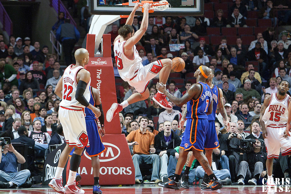 17 December 2009:  Chicago Bulls center Joakim Noah dunks the ball during the Chicago Bulls 98-89 victory over the New York Knicks at the United Center, in Chicago, Illinois, USA.