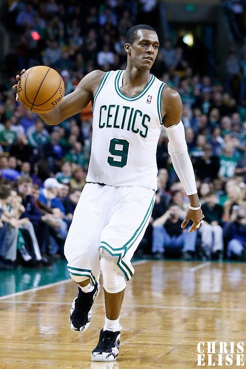 21 December 2012: Boston Celtics point guard Rajon Rondo (9) brings the ball upcourt during the Milwaukee Bucks 99-94 overtime victory over the Boston Celtics at the TD Garden, Boston, Massachusetts, USA.