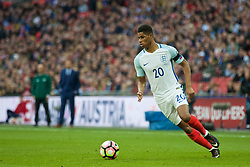 LONDON, ENGLAND - Sunday, March 26, 2017: England's Marcus Rashford in action against Lithuania during the 2018 FIFA World Cup Qualifying Group F match at Wembley Stadium. (Pic by Xiaoxuan Lin/Propaganda)
