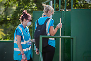 Cleaning the drop toilets is not the best job - Arrivals weighed down with get head off to set up camp - The 2019 Glastonbury Festival, Worthy Farm. Glastonbury, 27 June 2019