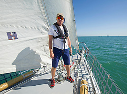Simon Le Bon on a 72 foot Challenger yacht in the Solent off Portsmouth where he announced his partnership with the Tall Ships Youth Trust .