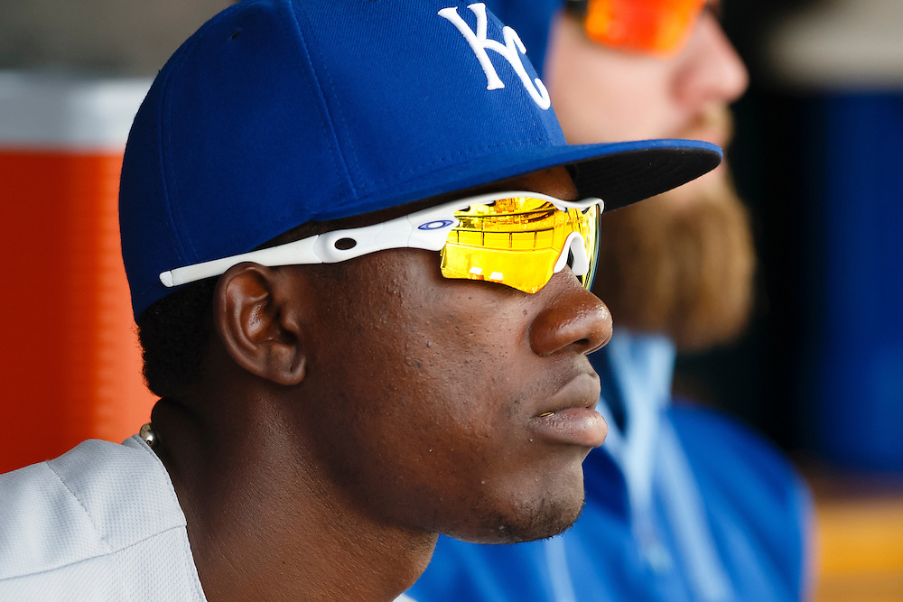 May 9, 2015; Detroit, MI, USA; Kansas City Royals center fielder Jarrod Dyson (1) watches from the dugout during the eighth inning against the Detroit Tigers at Comerica Park. Mandatory Credit: Rick Osentoski-USA TODAY Sports