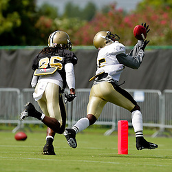 01 August 2009: New Orleans Saints wide receiver Courtney Roby (15) beats cornerback Reggie Jones (35) deep on a passing drill during New Orleans Saints training camp at the team's practice facility in Metairie, Louisiana.