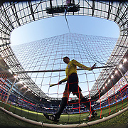 aAssistant referee Adam Wienckowski checks the netting before the New York Red Bulls Vs D.C. United Major League Soccer regular season match at Red Bull Arena, Harrison, New Jersey. USA. 22nd March 2015. Photo Tim Clayton