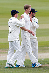 Bowler Craig Miles of Gloucestershire (2L)  celebrates after Alviro Petersen of Lancashire is caught out for 6 off his delivery - Photo mandatory by-line: Rogan Thomson/JMP - 07966 386802 - 09/06/2015 - SPORT - CRICKET - Bristol, England - Bristol County Ground - Gloucestershire v Lancashire - Day 3 - LV= County Championship Division Two.