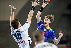Fabian Wiede of Germany vs Jonas Kallman of Sweden during handball match between National teams of Germany and Sweden on Day 4 in Preliminary Round of Men's EHF EURO 2016, on January 18, 2016 in Centennial Hall, Wroclaw, Poland. Photo by Vid Ponikvar / Sportida
