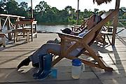 A traveler enjoys her afternoon lemonade at Marasha Lodge/Reserve - Amazonas - Peru