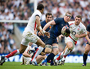 Twickenham, Great Britain, Englands', Delon ARMITAGE, moves in on Frances' Imanol HARINORDOQUY, during the Six Nations Rugby, England vs France, match played at the RFU Stadium, England on Sun 15.03.2009   [Mandatory Credit. Peter Spurrier/Intersport Images]
