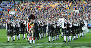 Dunedin's Pipe band before the Investec Super Rugby - Highlanders v Crusaders, 19 March 2011, Carisbrook Stadium, Dunedin, New Zealand.Photo: New Zealand. Photo: Richard Hood/www.photosport.co.nz