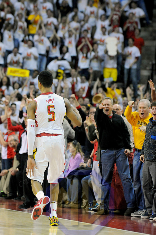 16 February 2013:   The crowd reacts after a basket by Maryland Terrapins guard Nick Faust (5) in action against the Duke Blue Devils at the Comcast Center in College Park, MD. where the Maryland Terrapins upset the second ranked Duke Blue Devils, 83-81.