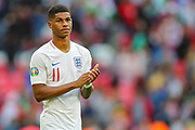 Marcus Rashford of England applauds the home fans after the UEFA European 2020 Qualifier match between England and Bulgaria at Wembley Stadium, London, England on 7 September 2019.