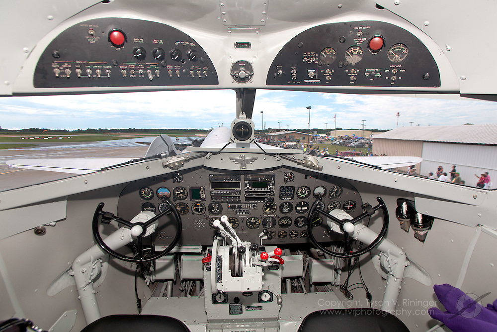 """A view of the instrument panel inside the """"Thunderbird Flying Services"""" DC-3, N353MM, which formerly served as C-53D AF 42-68738."""