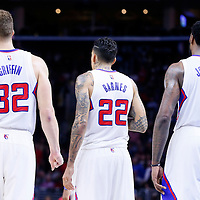 08 December 2014: Los Angeles Clippers forward Blake Griffin (32) is seen next to Los Angeles Clippers forward Matt Barnes (22) and Los Angeles Clippers center DeAndre Jordan (6) during the Los Angeles Clippers 121-120 overtime victory over the Phoenix Suns, at the Staples Center, Los Angeles, California, USA.
