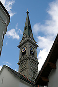 Campanile della Chiesa Evangelica a St. Moritz..Evangelical Church tower of St. Moritz