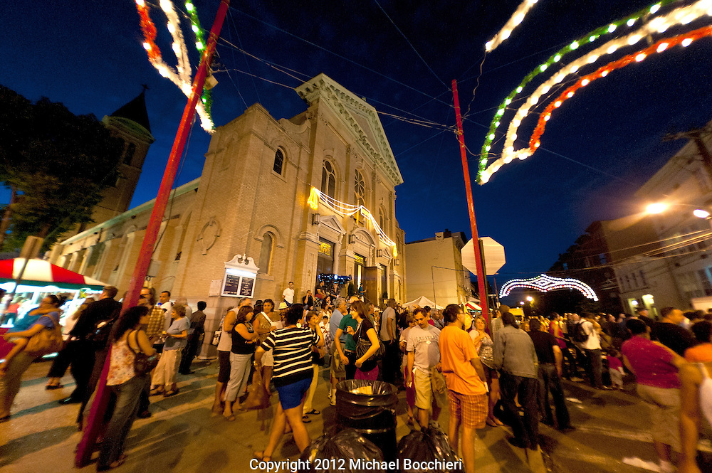 HOBOKEN, NJ - July 21:  People attend the St. Ann's Feast at the Church of St. Ann on 7th and Jefferson St. July 21, 2012 in HOBOKEN, NJ.  (Photo by Michael Bocchieri/Bocchieri Archive)