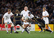© Andrew Fosker / Seconds Left Images 2011 - England's James Haskell is caught by Scotland's Alasdair Strokosch (R) England v Scotland - Rugby World Cup 2011 - Eden Park - Auckland - New Zealand - 01/10/2011 -  All rights reserved..