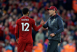 LIVERPOOL, ENGLAND - Sunday, October 7, 2018: Liverpool's manager Jürgen Klopp (R) and Joe Gomez after the FA Premier League match between Liverpool FC and Manchester City FC at Anfield. The game ended goal-less. (Pic by David Rawcliffe/Propaganda)