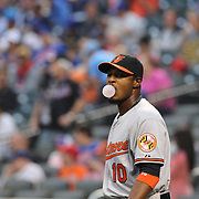 Adam Jones, Baltimore Orioles, during the New York Mets Vs Baltimore Orioles MLB regular season baseball game at Citi Field, Queens, New York. USA. 5th May 2015. Photo Tim Clayton