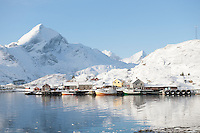Coastal landscape and fishing village Sund in Flakstadoya Loftofen Norway