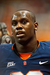 Oct 21, 2011; Syracuse NY, USA;  Syracuse Orange defensive end Chandler Jones (99) on the sidelines against the West Virginia Mountaineers during the fourth quarter at the Carrier Dome.  Syracuse defeated West Virginia 49-23. Mandatory Credit: Jason O. Watson-US PRESSWIRE